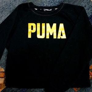 PUMA cropped black & gold sweatshirt